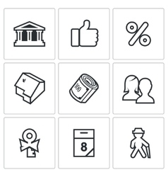 Mortgage credit lending icons set vector