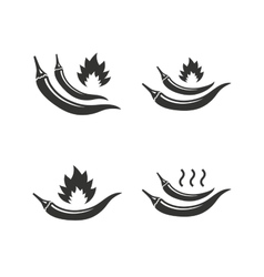 Hot chili pepper icons spicy food symbols vector