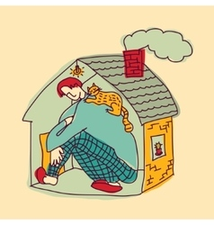 Small home young man color vector