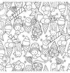 Ice cream seamless patternhand drawn vector