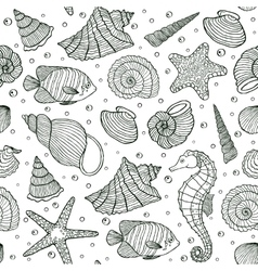 Ocean inhabitants on white background vector