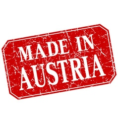 Made in austria red square grunge stamp vector