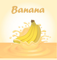 a splash of juice from a falling banana and drops vector image vector image
