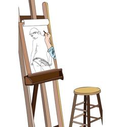 Art workshop sketch of naked vector