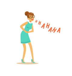 Beautiful young woman laughing out loud and vector