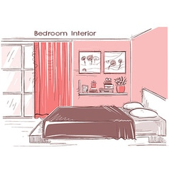 Bedroom interior color hand drawing modern home vector image