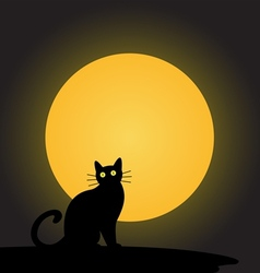 black cat with the moonhalloween background vector image vector image