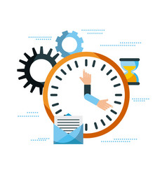 business clock time email work management vector image vector image