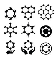 Carbone graphene structure icons set vector