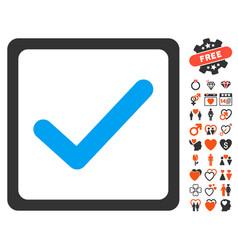 Checkbox icon with love bonus vector
