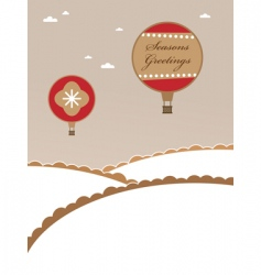 Christmas hot air balloons vector image vector image