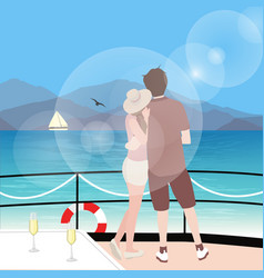 couple stting on sailboat deck looking at sealine vector image