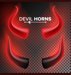 Devils horns red luminous horn isolated vector