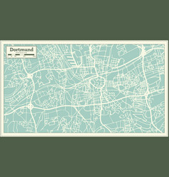 Dortmund germany city map in retro style outline vector