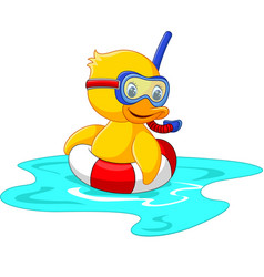 duck diver with swimming belt sitting vector image vector image