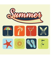 flat icons of summer vector image