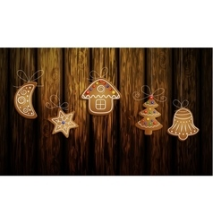 Gingerbread man tree and stars vector