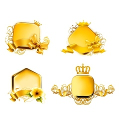Golden Emblem set vector image vector image