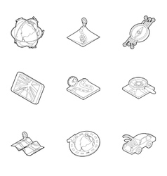 GPS icons set outline style vector image vector image