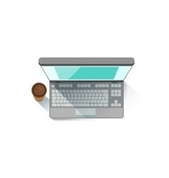 Lap top an paper cup with coffee office worker vector