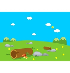 Logs and flower lanscape vector