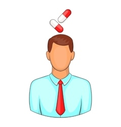 Man with pills over head icon cartoon style vector