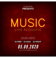 Neon Live Music Concert Acoustic Party Poster vector image