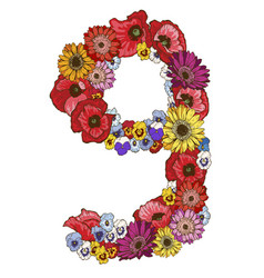 Nine digit made of different flowers floral vector