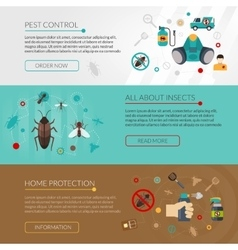 Pest control extermination 3 flat banners vector