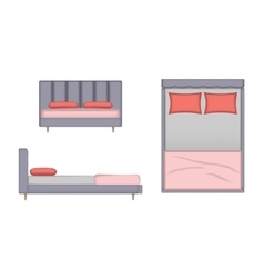 Realistic bed top front side view vector