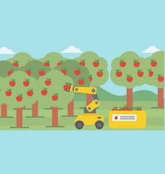 Robot picking apples at harvest time vector