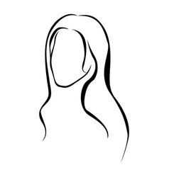 sketch female faceless silhouette with long vector image