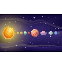 Solar System Design Space with Planets and Stars vector image vector image