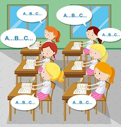 Students learning english in classroom vector
