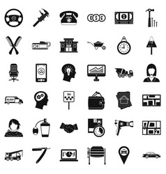Taxi work icons set simple style vector