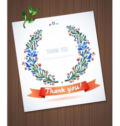 Thank you watercolor floral wreath with ribbon vector