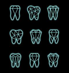 tooth symbol set vector image vector image