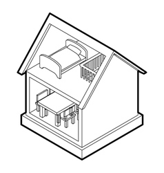 Toy house icon outline style vector image