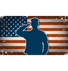 US Army soldier on grunge american flag background vector image vector image
