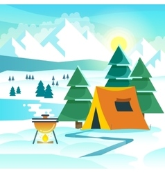 Winter hiking background with tent and vector image vector image