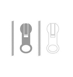 zipper grey set icon vector image
