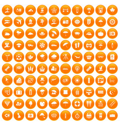 100 umbrella icons set orange vector