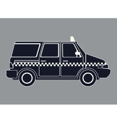 Silhouette taxi van car side view vector