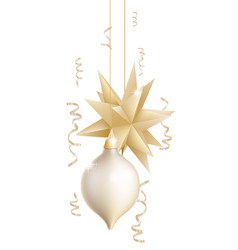 beautiful gold and white christmas baubles vector image
