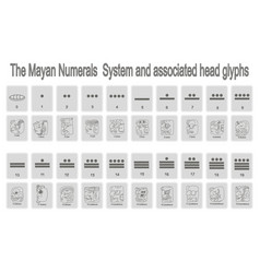 Monochrome icons set with mayan numerals system vector
