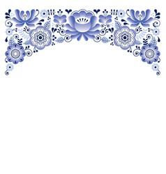 russian floral ornament gzhel style - invitation vector image