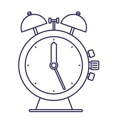 Purple line contour of antique alarm clock vector