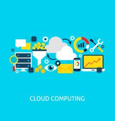 Cloud computing flat concept vector