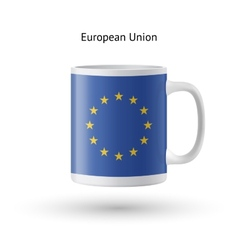 European union flag souvenir mug on white vector