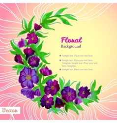 Watercolor tender wreath frame with purple flowers vector